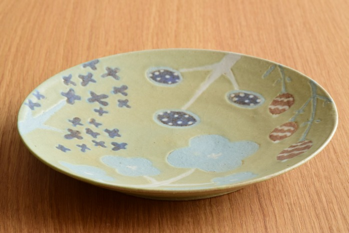 沖澤 真紀子|グリーンHana皿(21cm)