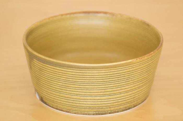 照井壮|黄釉線刻どら鉢