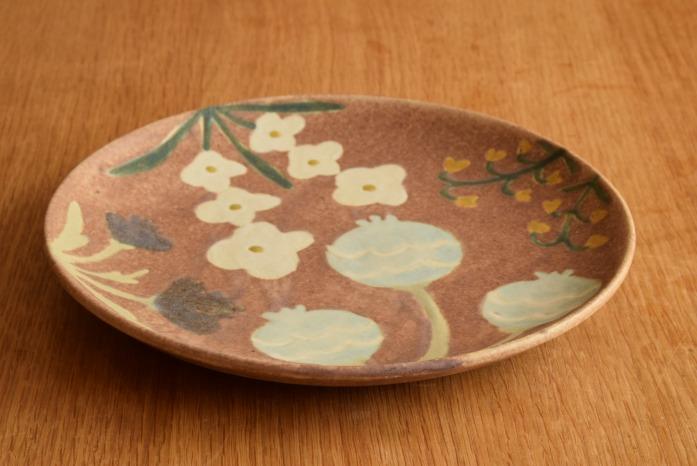 沖澤 真紀子|ピンクHana皿(21cm)