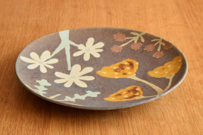 沖澤 真紀子|パープルHana皿(21cm)
