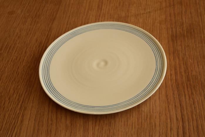照井壮|青線刻盤皿(6寸)