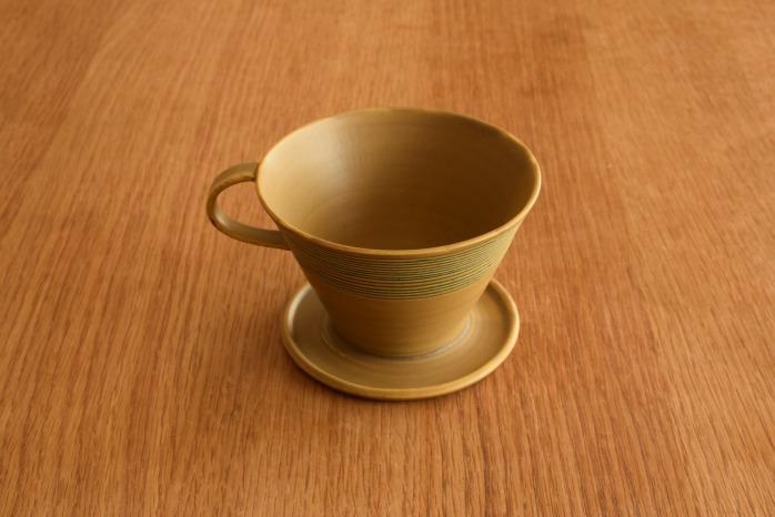 照井壮|黄釉線刻コーヒードリッパー