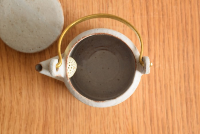 石川若彦|青真鍮手付きポット 俯瞰・表
