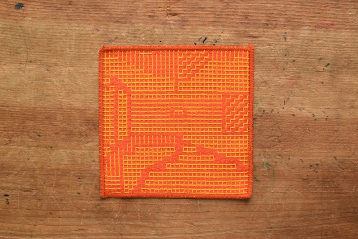 十布|刺子織のコースター(レッド)