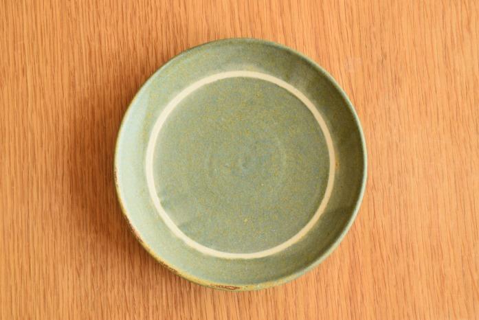 沖澤 真紀子|ブルーグリーンリング皿(15cm) 俯瞰・表
