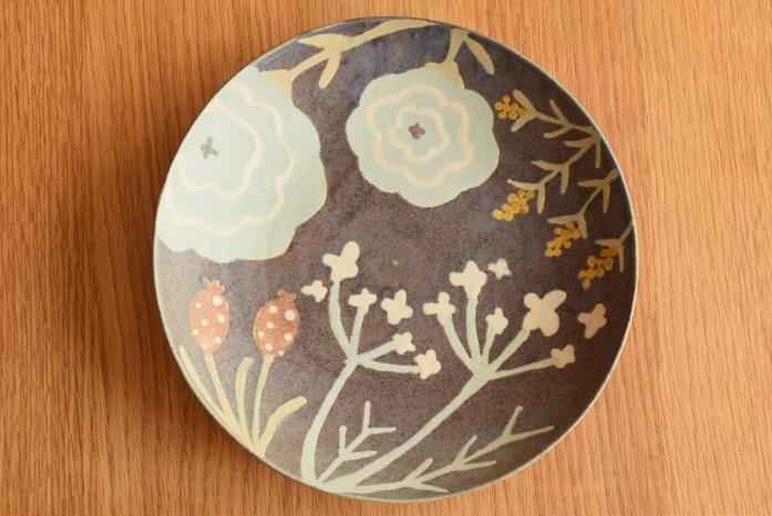 沖澤 真紀子|パープルhana皿(24cm) 俯瞰・表