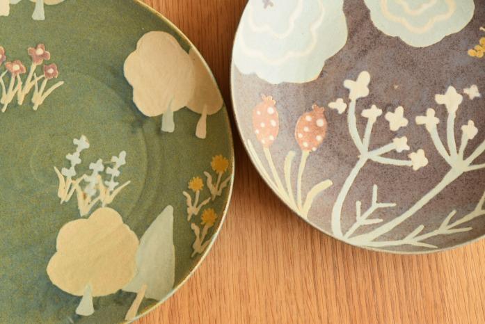 沖澤 真紀子|パープルhana皿(24cm) 色違い
