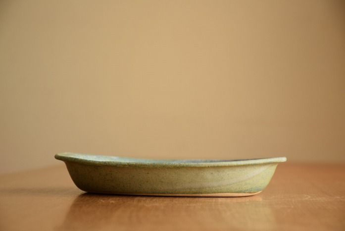 中村恵子|水色NEW楕円鉢 水平