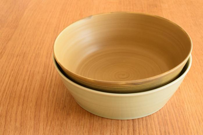 照井壮|青白磁どら鉢(大) 黄釉青線刻どら鉢と