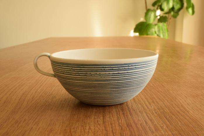 照井壮|青線刻スープ碗 水平