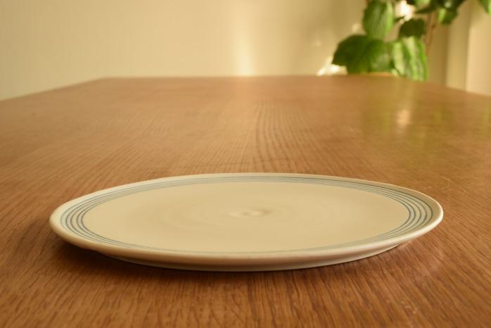 照井壮|青線刻盤皿(6寸) 水平