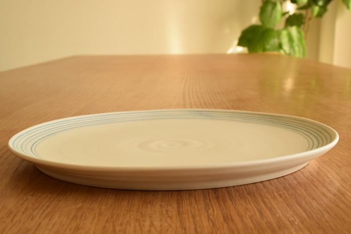 照井壮|青線刻盤皿(8寸) 水平