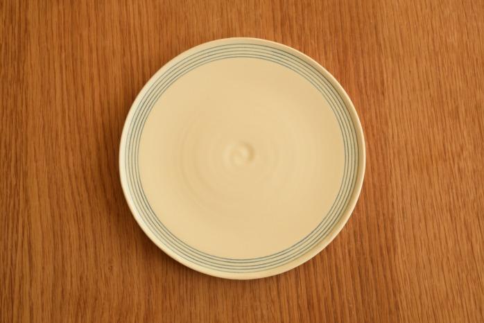 照井壮|青線刻盤皿(6寸) 俯瞰・表