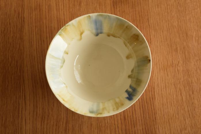 照井壮|流れ加彩釉リム鉢 俯瞰・表