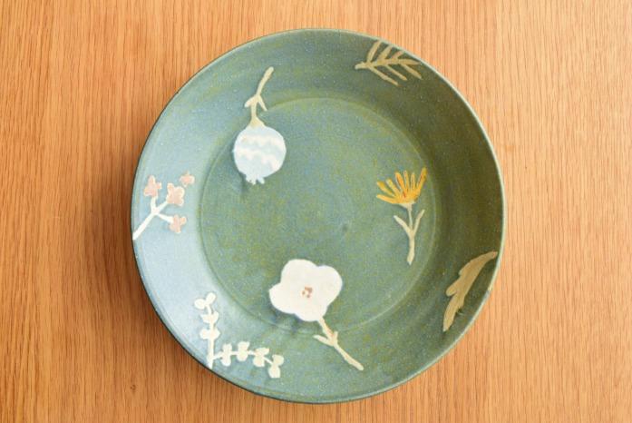 沖澤 真紀子|ブルーグリーンRondoリム皿 シンプルでかわいい