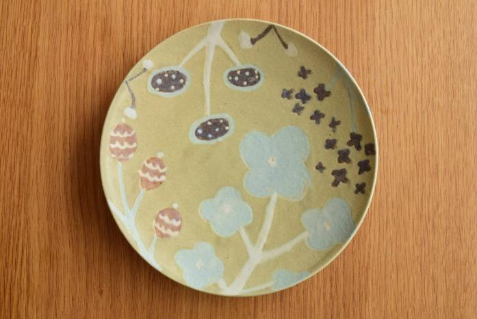 沖澤 真紀子|グリーンHana皿(21cm)C hanaシリーズ、二人展の際の一点モノとなります。