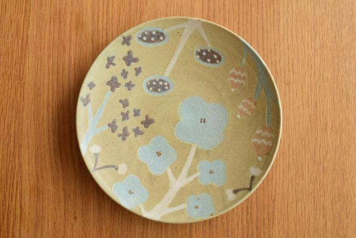 沖澤 真紀子|グリーンHana皿(21cm)A hanaシリーズ、二人展の際の一点モノとなります。