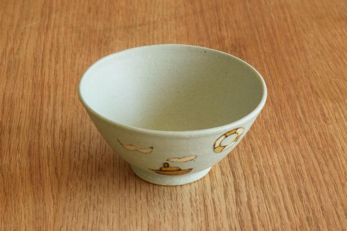 沖澤 真紀子|こども飯碗(ブルー・ヨット) 個展の際の作品となります。