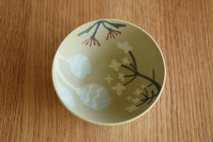沖澤 真紀子|ブルーグリーンHana茶碗 個展の際の作品となります。