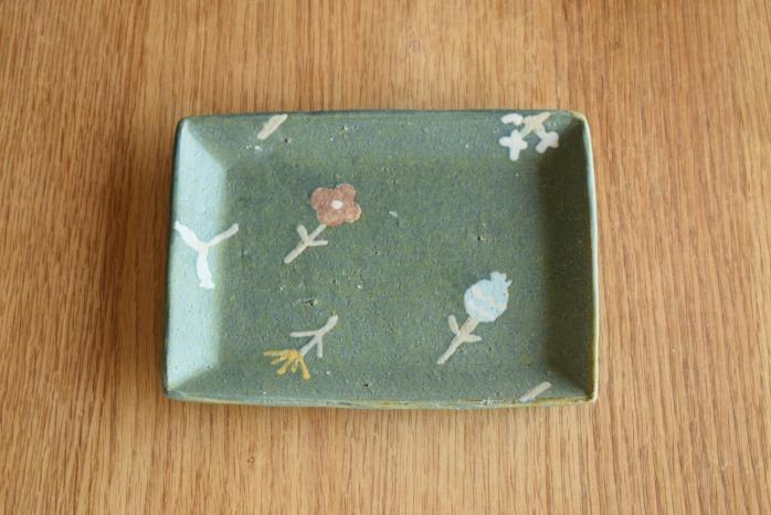 沖澤 真紀子|ブルーグリーン長角皿 個展の際の作品となります。