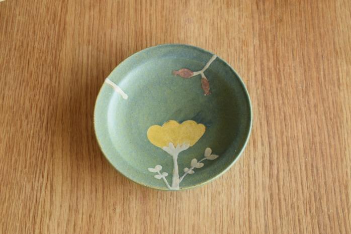 沖澤 真紀子|ブルーグリーンHana皿(15cm)