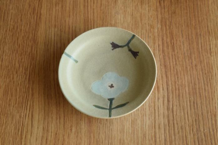 沖澤 真紀子|グリーンHana皿(15cm)A 個展の際の作品となります。