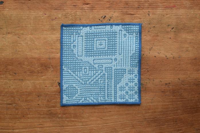十布|刺子織のコースター(ブルー)温かい刺子織のコースター