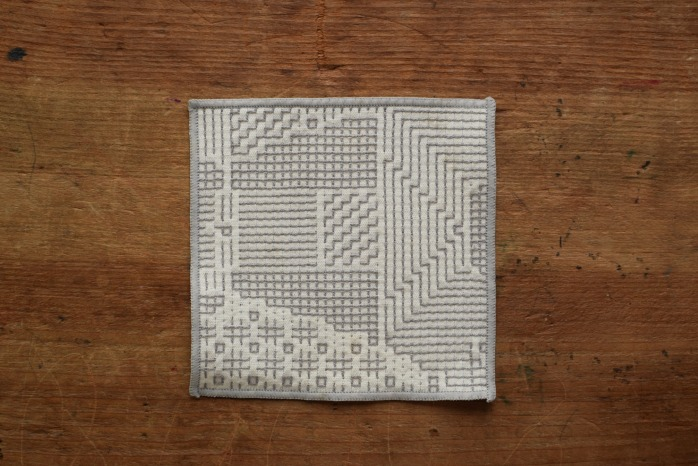 十布|刺子織のコースター(オフホワイト)温かい刺子織のコースター