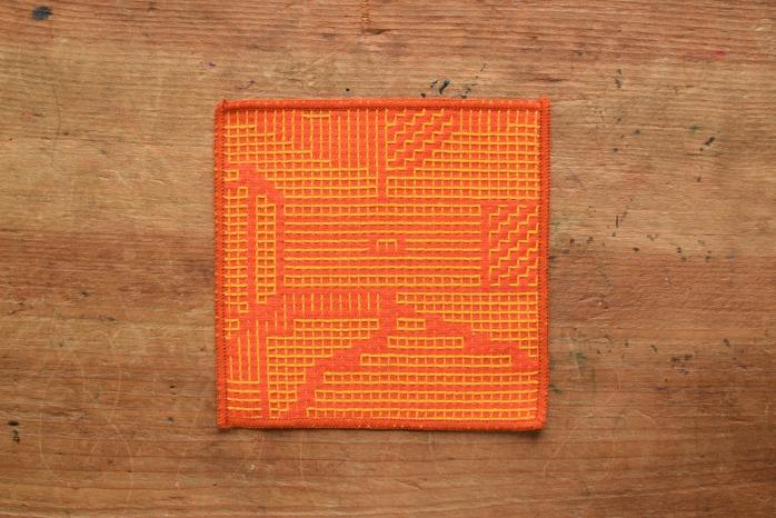 十布|刺子織のコースター(レッド)温かい刺子織のコースター