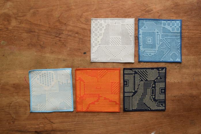 十布|刺子織のコースター(オフホワイト)色違い