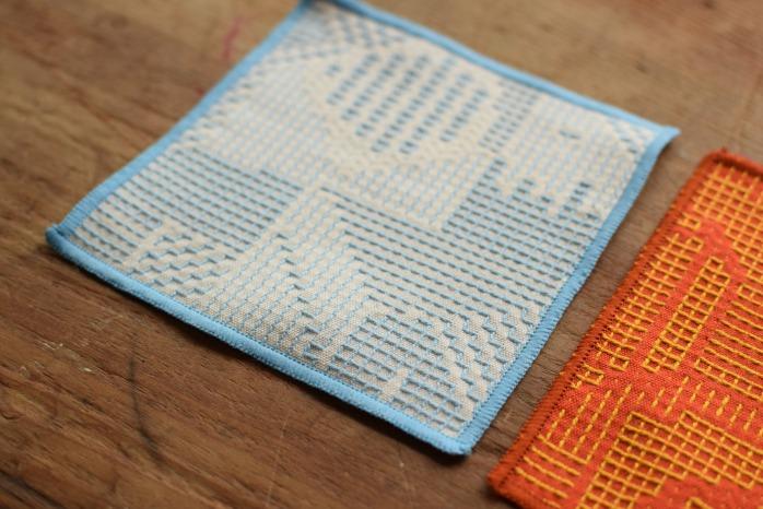十布|刺子織のコースター(ライトブルー) 正面