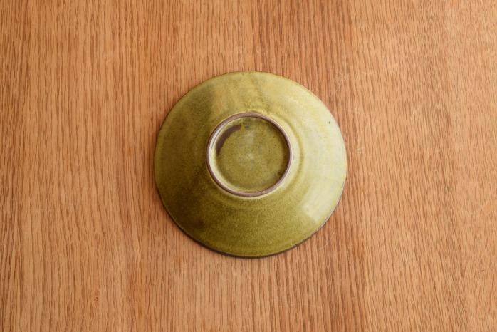 中村恵子|深緑リム皿(小) 俯瞰・裏