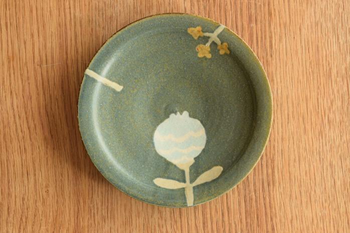 沖澤 真紀子|ブルーグリーンhana皿(18cm)