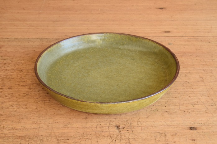 中村恵子|深緑バスク鉢(中) 水平