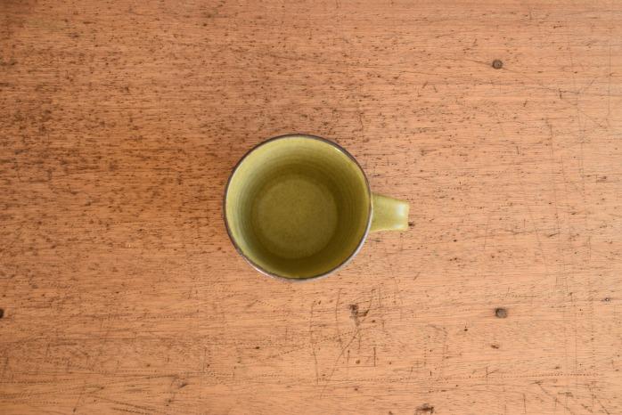 中村恵子|深緑マグカップ(小)  俯瞰・表
