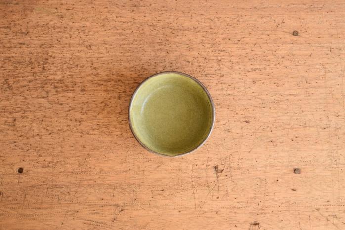 中村恵子|深緑バスク鉢(ミニ) 俯瞰・表