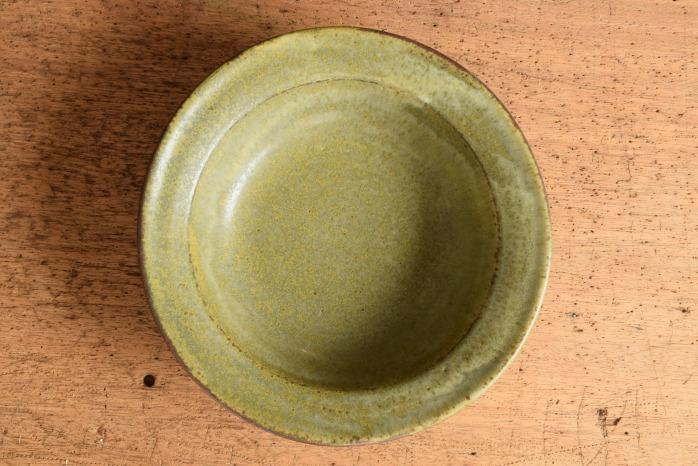 中村恵子|深緑スープ鉢 俯瞰・表