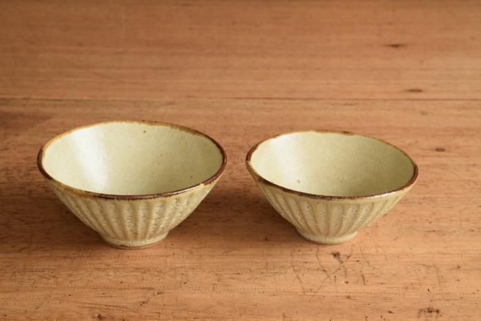 折笠秀樹|ワラマット釉シノギ飯碗(小) 折笠さんのシノギがすきです。